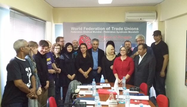 Delegation of U.S. Trade Unionists Welcomed at WFTU Headquarters