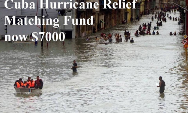 Our Matching Fund for Cuba Hurricane Relief Raised to $7000